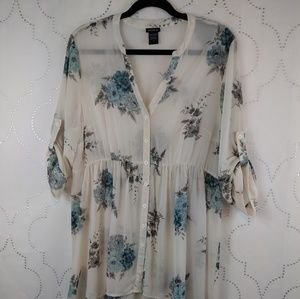 Torrid cover-up with cream&blue, flowers